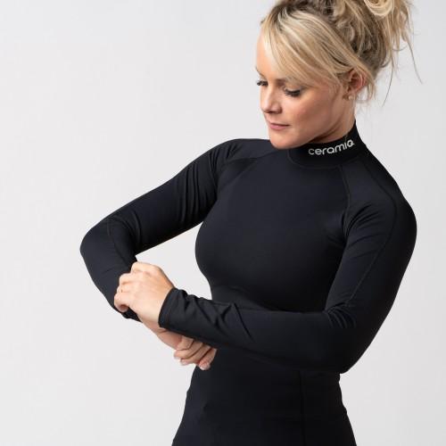 T-shirt manches longues avec col montant pour femme