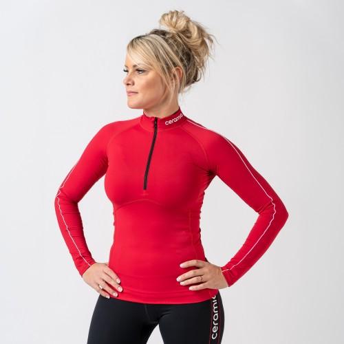 T-shirt manches longues demi zip pour femme
